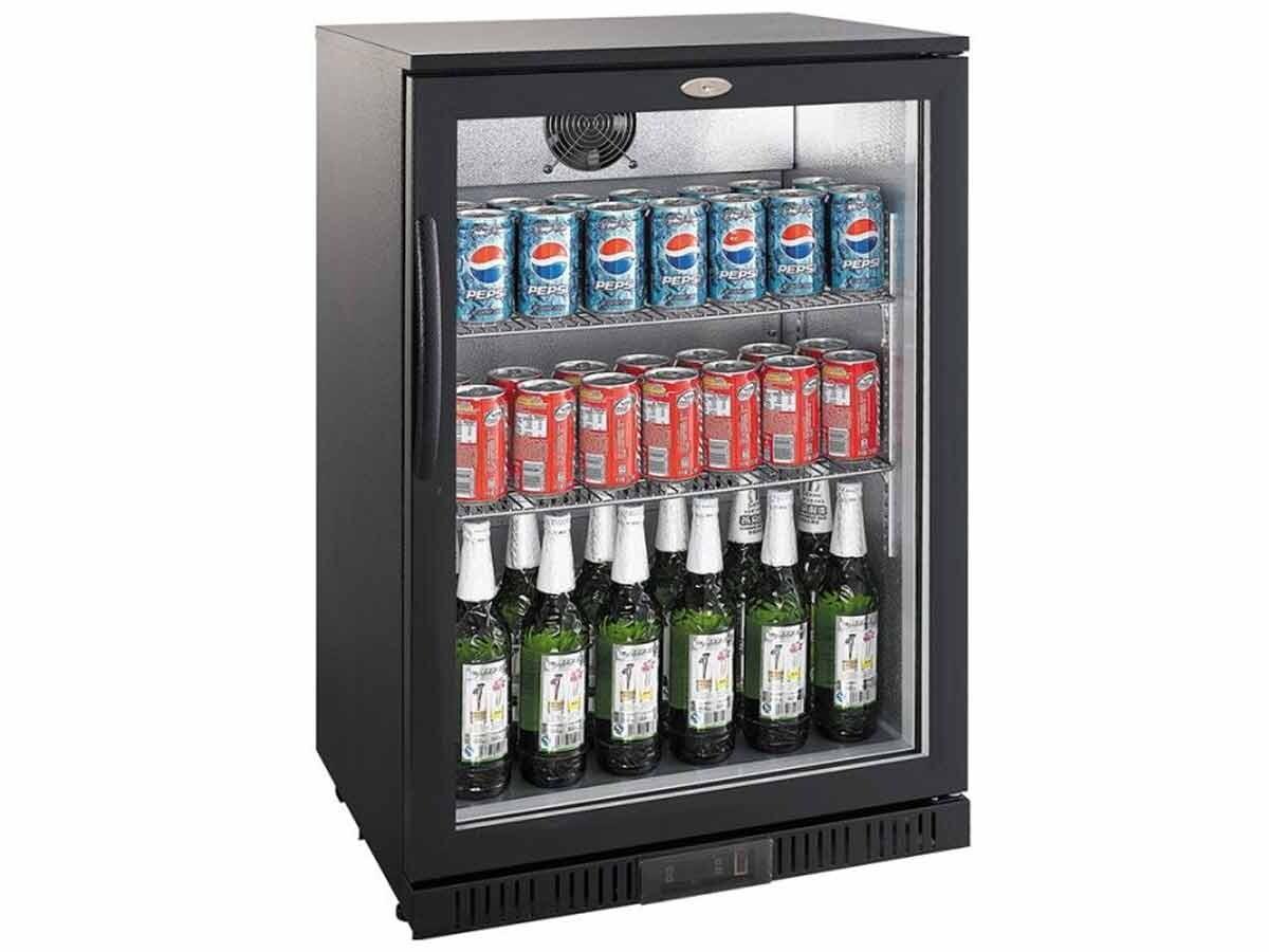 Flaschenkühlschrank schwarz Glastür 138 Liter, 325,00 &euro